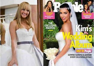 A closeup of Kate Hudson and Kim Kardashian reveal similar bridal styles. Photos by 20th Century Fox and People