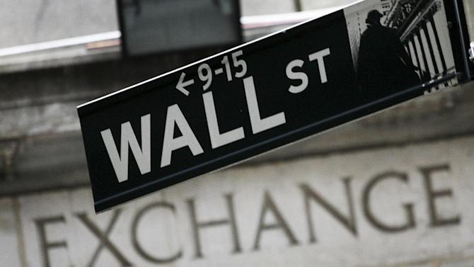 FILE - In this Sept. 30, 2008 file photo, a Wall St. sign hangs in front of the New York Stock Exchange. U.S. stocks wavered in morning trading Tuesday, Sept. 2, 2014, as investors looked ahead to major economic reports out this week. (AP Photo/Mark Lennihan, File)