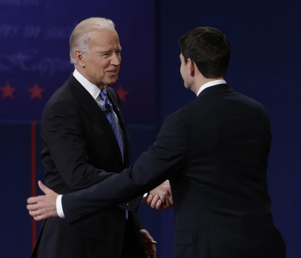 Vice President Joe Biden and Republican vice presidential nominee Rep. Paul Ryan of Wisconsin shake hands before their vice presidential debate at Centre College, Thursday, Oct. 11, 2012, in Danville, Ky. (AP Photo/Mark Humphrey)