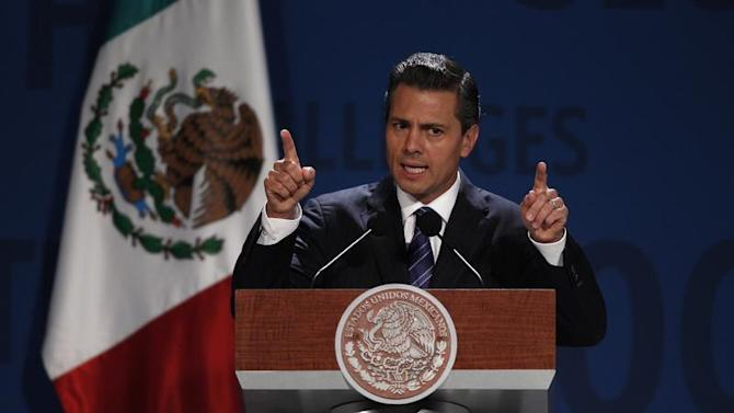 Mexico's President Pena Nieto addresses the audience during The Economist's Mexico Summit 2013 in Mexico City