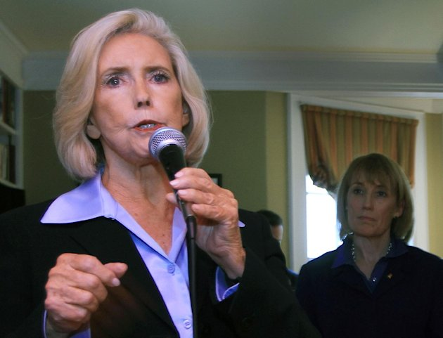 FILE - In this April 30, 2012 file photo, Lilly Ledbetter, left, speaks in Concord, N.H. President Barack Obama and his allies in the Senate pushed Tuesday for a bill that calls for equal pay in the w