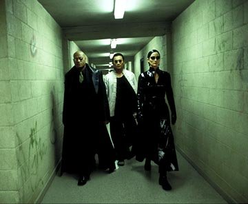 Laurence Fishburne , Collin Chou and Carrie Anne Moss in Warner Brothers' The Matrix: Revolutions