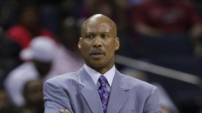 In this Wednesday, April 17, 2013 file photo, Cleveland Cavaliers head coach Byron Scott looking on during the first half of an NBA basketball game against the Charlotte Bobcats in Charlotte, N.C. The Cleveland Cavaliers have fired coach Byron Scott after three losing seasons. (AP Photo/Chuck Burton, File)