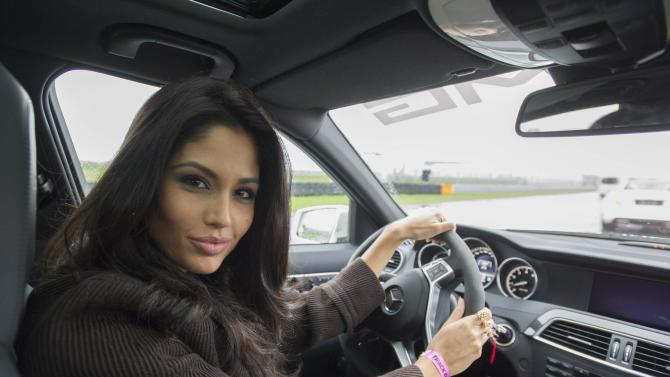 Miss Spain 2013 Patricia Yurena Rodriguez poses at Moscow Raceway