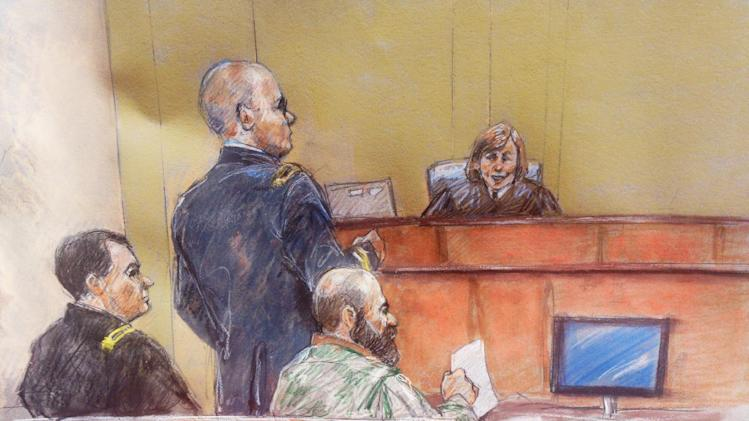 File - In this Aug. 8, 2013 file courtroom sketch, Maj. Nidal Hasan, second from right, sits with his standby defense attorneys Maj. Joseph Marcee, left, and Lt. Col. Kris Poppe, second from left, as presiding judge Col. Tara Osborn looks on, during Hasan's trial, in Fort Hood, Texas. Testimony has been moving so quickly during the military trial of the soldier accused in the 2009 Fort Hood shooting rampage that the judge decided to give jurors extra time on Monday in between witnesses to finish their notes.(AP Photo/Brigitte Woosley, File)
