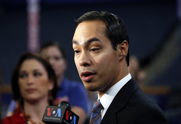 San Antonio, Texas Mayor Julian Castro talks to reporters at the Democratic National Convention in Charlotte, N.C., Tuesday, Sept. 4, 2012. The mayor will give the keynote speech at the DNC. (AP Photo/Jae C. Hong)