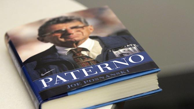 """A copy of  """"Paterno""""  by Joe Posnanski is photographed Tuesday, Aug. 21 2012, in New York.  AP Photo/Mary Altaffer)"""