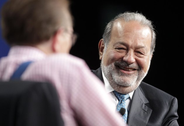 Carlos Slim, President of the Carlos Slim Foundation and the Telmex Foundation, speaks as he is interviewed by Larry King at the Milken Institute Global Conference in Beverly Hills