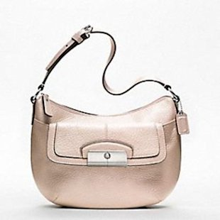 Coach Kristin metallic leather top handle pouch