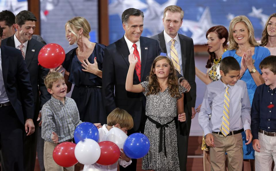 Republican presidential nominee Mitt Romney, vice presidential nominee, Rep. Paul Ryan and their families watch the balloons drop during the Republican National Convention in Tampa, Fla., on Thursday, Aug. 30, 2012. (AP Photo/J. Scott Applewhite)