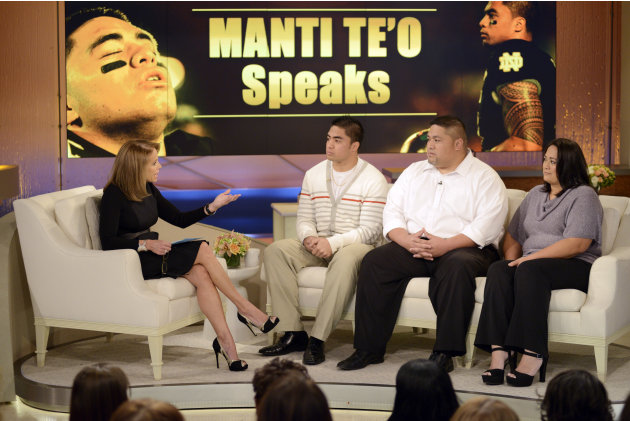 In this photo taken on Jan. 22, 2013 and released by ABC Notre Dame linebacker Manti Te'o, second from left, and his parents Brian and Ottilia, right, listen to host Katie Couric during an interview f