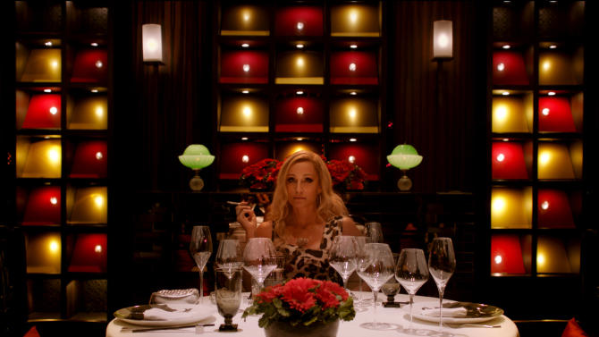 "This film publicity image released by Radius-TWC shows Kristin Scott Thomas in a scene from ""Only God Forgives."" (AP Photo/Radius-TWC)"