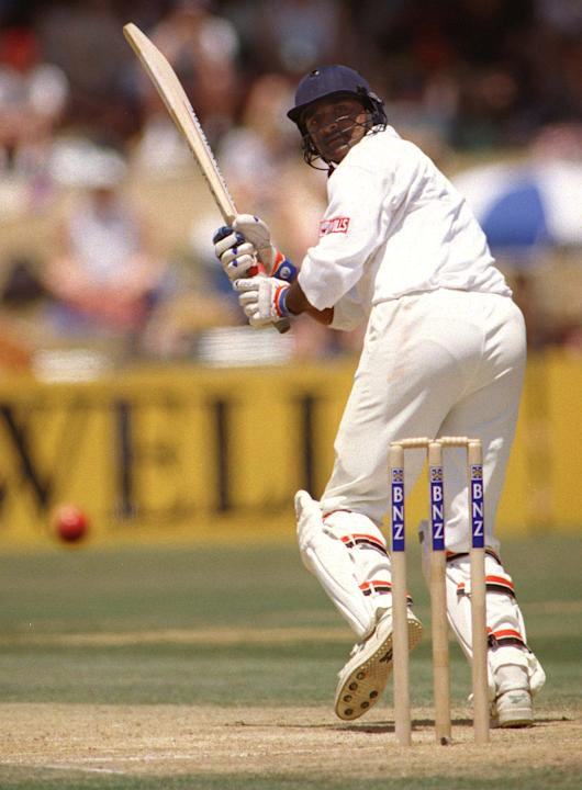 India's Javagal Srinath flicks the ball down legsi