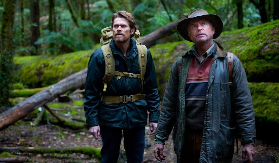 "In this film publicity image released by Magnolia Pictures, Willem Dafoe, left, and Sam Neill are shown in ""The Hunter."" (AP Photo/Magnolia Pictures, Matt Nettheim)"
