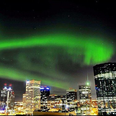 The Aurora Borealis ( or Northern lights ) are spotted over Downtown Edmonton Mon nite. No filter #yeg #yegm. Edmonton, Alberta.