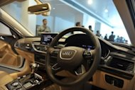 Front seat area of a seventh generation Audi A6 automobile is seen during the car model launch ceremony in Hyderabad, in 2011. German carmaker makes special horns for its vehicles sold in India where local drivers hoot so much as they fight their way through chaotic traffic, the firm's country director has revealed