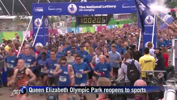 London's Olympic park reopens for anniversary run