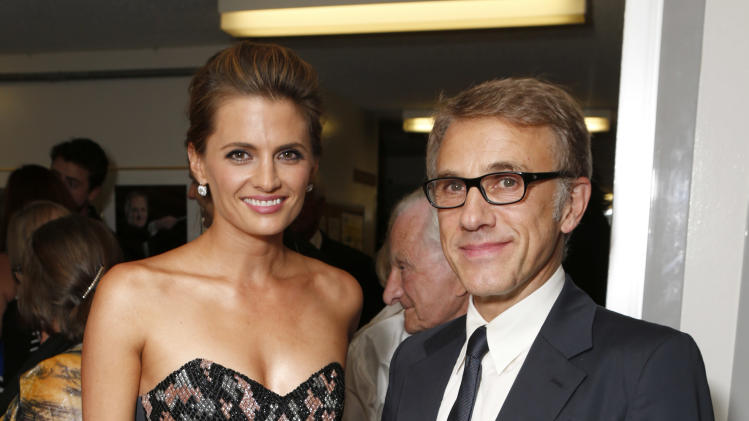 IMAGE DISTRIBUTED FOR LA OPERA - Stana Katic and Christoph Waltz are seen backstage at LA Opera's Gala Opening on Saturday, Sept. 15, 2012 in Los Angeles. (Photo by Todd Williamson/Invision for the LA Opera/AP Images)