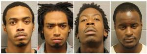 Combination photo of Young, Jett, Champ, and Gatewood in undated booking photos released by the Chicago Police Department