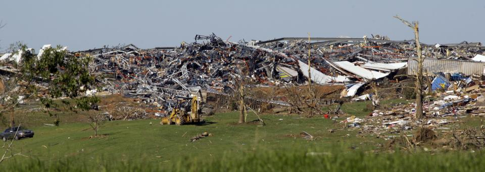 The Wrangler distribution center is destroyed after Wednesday's tornado touched down in Hackleburg, Ala., Friday, April 29, 2011. (AP Photo/Rogelio V. Solis)