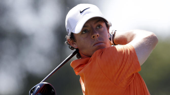 Rory McIlroy of Northern Ireland, hits from the third tee during the second round of the Cadillac Championship golf tournament Friday, March 8, 2013, in Doral, Fla. (AP Photo/Wilfredo Lee)