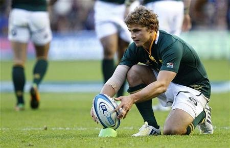 South Africa's Patrick Lambie lines up the ball before kicking against Scotland during their Autumn Test rugby match at Murrayfield Stadium in Edinburgh