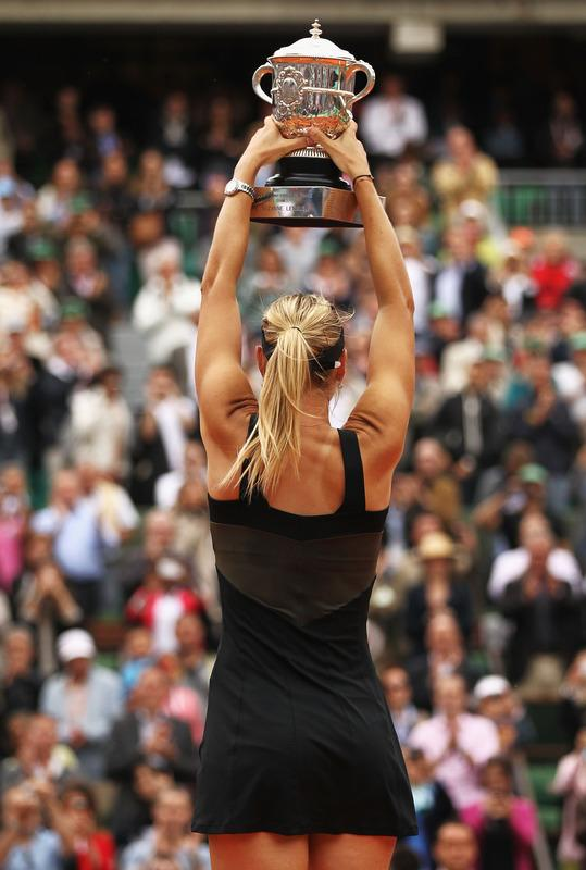 Maria Sharapova Of Russia Celebrates With The Coupe Suzanne Lenglen In The Women's Singles Final Against Sara Errani Getty Images