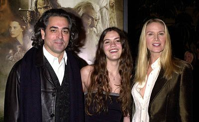 Mitch Glazer and Kelly Lynch with daughter at the Hollywood premiere of New Line's The Lord of The Rings: The Fellowship of The Ring