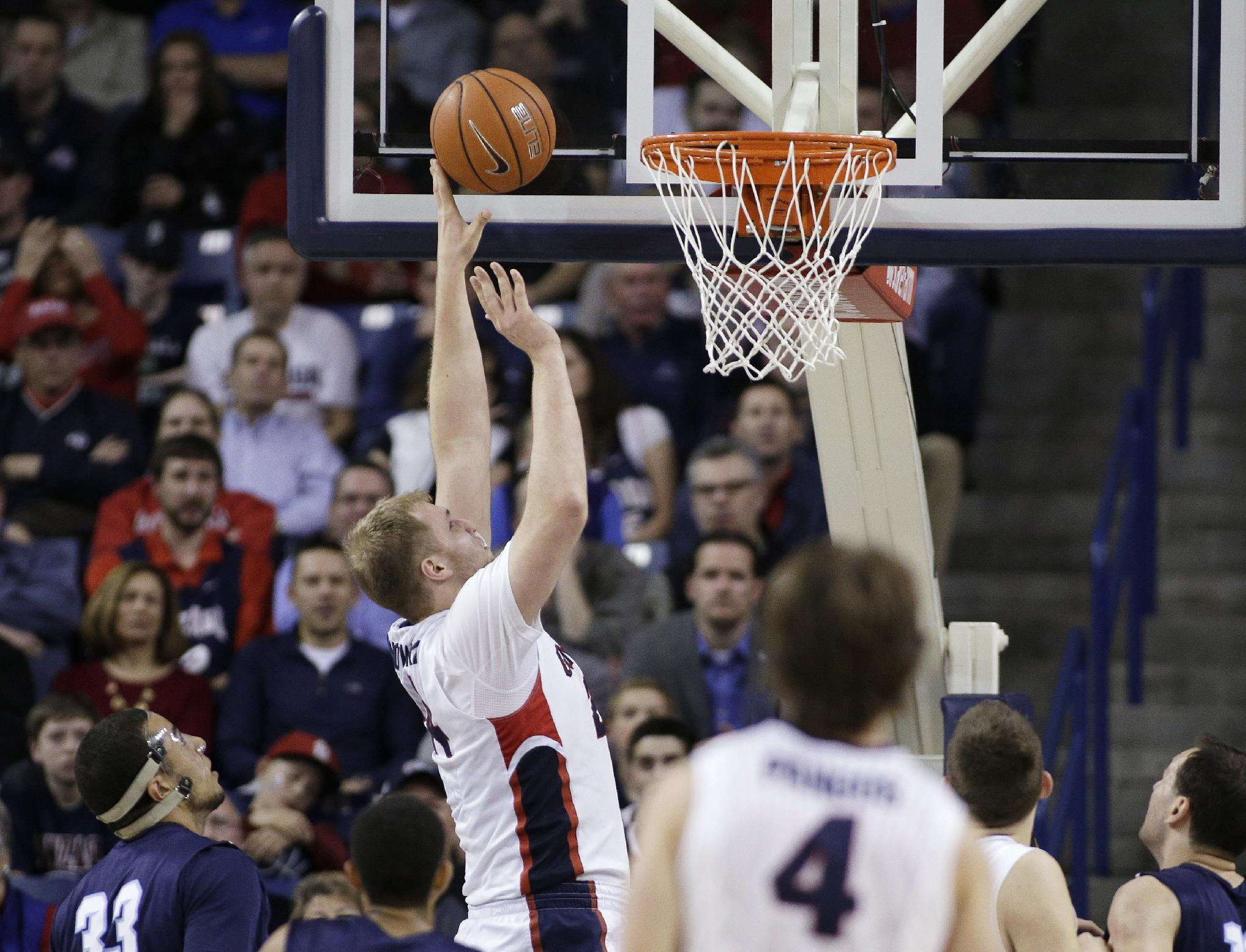 No. 3 Gonzaga sluggish but gets past San Diego, 59-39