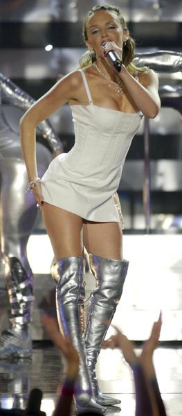 Kylie performing at the Brits, 2002