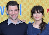 Max Greenfield and Zooey Deschanel arrive to The Academy of Television Arts & Sciences' screening of Fox's 'New Girl' in North Hollywood, Calif. on May 7, 2012  -- Getty Images