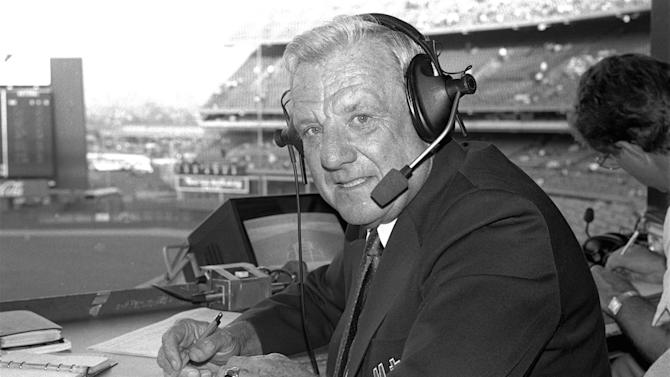 FILE - In this May 10, 1985, file photo, Hall of Famer Ralph Kiner sits at Shea Stadium in New York. The baseball Hall of Fame says slugger Ralph Kiner has died on Feb. 6, 2014. He was 91. (AP Photo/Ron Frehm, File)