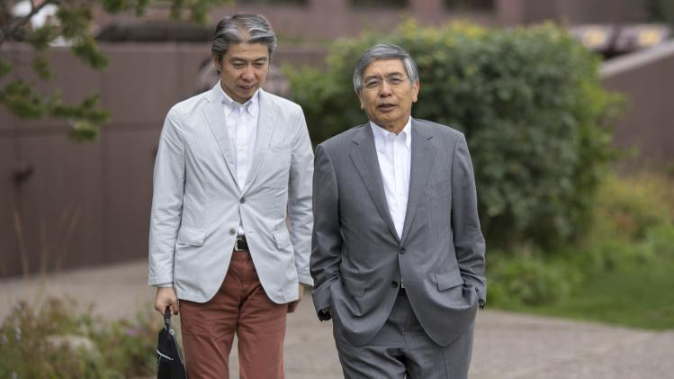 Bank of Japan Governor Kuroda and Sakamoto, the bank's general manager for the Americas, attend the Jackson Hole Economic Policy Symposium in Jackson Hole