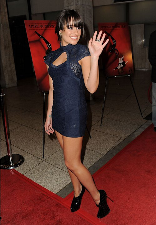 "Lea Michele arrives at the premiere of FX's ""American Horror Story"" at the ArcLight Cinemas Cinerama Dome on October 3, 2011 in Hollywood, California."