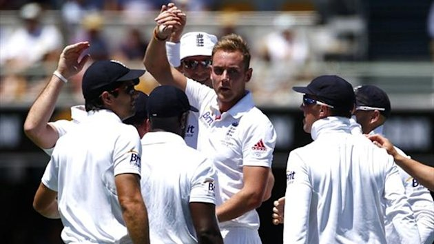 England's Stuart Broad celebrates at the Gabba (Reuters)