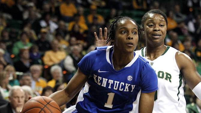 Kentucky's A'dia Mathies (1) drives by Baylor's Odyssey Sims on her way to the basket in the first half of an NCAA college women's basketball game, Tuesday, Nov. 13, 2012, in Waco, Texas. (AP Photo/Tony Gutierrez)