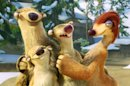 "This image released by 20th Century Fox shows Sid, voiced by John Leguizamo, center, surrounded by his family in a scene from the animated film, ""Ice Age: Continental Drift."" (AP Photo/20th Century Fox)"