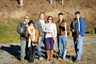 Preppers with bows and arrows. From left to right: Jay and Holly Blevins, Braxton and Kara Southwick, Dave Kobler, Scott Hunt.