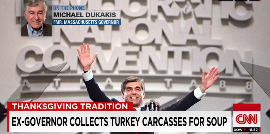 Former presidential candidate Michael Dukakis goes on CNN to explain his love of turkey carcasses