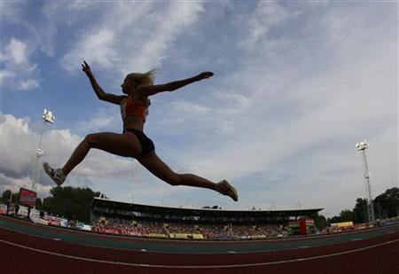Paraskevi Papachristou of Greece competes in the women's triple jump during the London Grand Prix, Diamond League, athletics meeting in London