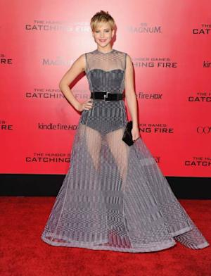 Jennifer Lawrence arrives at the Los Angeles Premiere 'The Hunger Games: Catching Fire' at Nokia Theatre L.A. Live on November 18, 2013 in Los Angeles -- FilmMagic