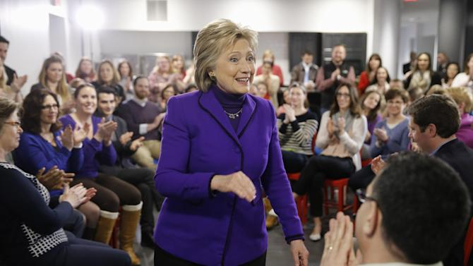 Democratic presidential candidate Hillary Clinton speaks during a campaign stop at the College for America offices at Southern New Hampshire University  Friday, Feb. 5, 2016, in Manchester, N.H. (AP Photo/Matt Rourke)