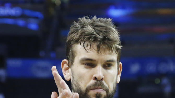 Memphis Grizzlies center Marc Gasol after beating the Oklahoma City Thunder 88-84 at Game 5 of their Western Conference Semifinals NBA basketball playoff series in Oklahoma City, Wednesday, May 15, 2013. (AP Photo/Sue Ogrocki)