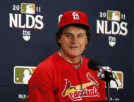 St. Louis Cardinals manager Tony La Russa speaks during a news conference, Monday, Oct. 3, 2011, in St. Louis. The Cardinals are scheduled play Game 3 of baseball's National League Division Series playoffs against the Philadelphia Phillies on Tuesday. (AP Photo/Jeff Roberson)