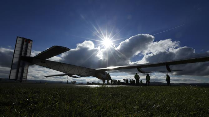 The solar-powered Solar Impulse 2 experimental aircraft prepares to take off for a test flight in Payerne