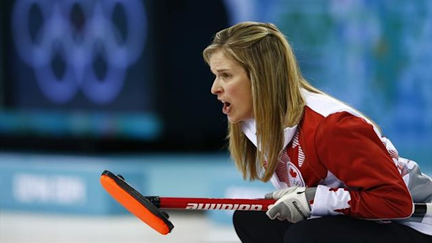 Canada's skip Jennifer Jones competes in their women's gold medal curling game against Sweden (Reuters)