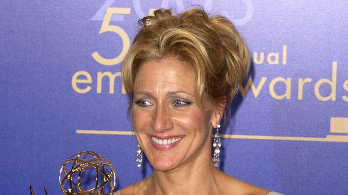 "Edie Falco, winner of Outstanding Lead Actress In A Drama Series for ""Sopranos"" at The 55th Annual Primetime Emmy Awards."