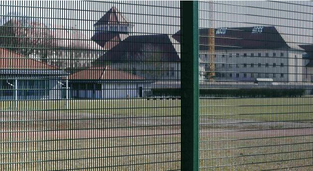 General view of soccer pitch at Landsberg County jail where former Bayern Munich President Hoeness is expected to serve his prison sentence in Landsberg am Lech
