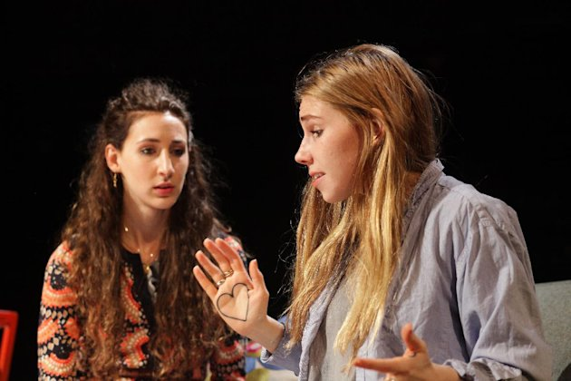 This theater image released by the O+M Company shows Lauren Culpepper, left, and Zosia Mamet, in a scene from MCC Theaters production of &quot;Really Really&quot;, performing off-Broadway at the Lucille Lortel Theatre in New York. (AP Photo/The O + M Company, Janna Giacoppo)