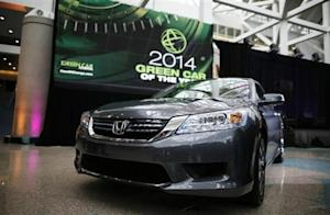 "The 2014 Honda Accord Hybrid, which was named ""Green Car of the Year"", is pictured at the Los Angeles Auto Show"